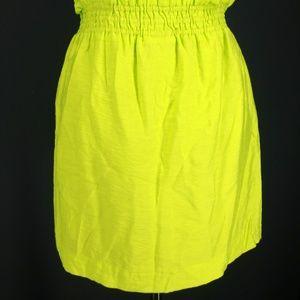 J CREW Skirt 2 Green Crinkle City Mini Fluorescent